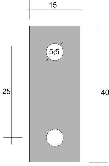 4 Stück Unterlegeplättchen Alu natur 40x15x2 mm mit 2 Bohrungen 5,5 mm