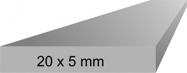 Alu Flachprofil 5x20 mm, 1 Meter