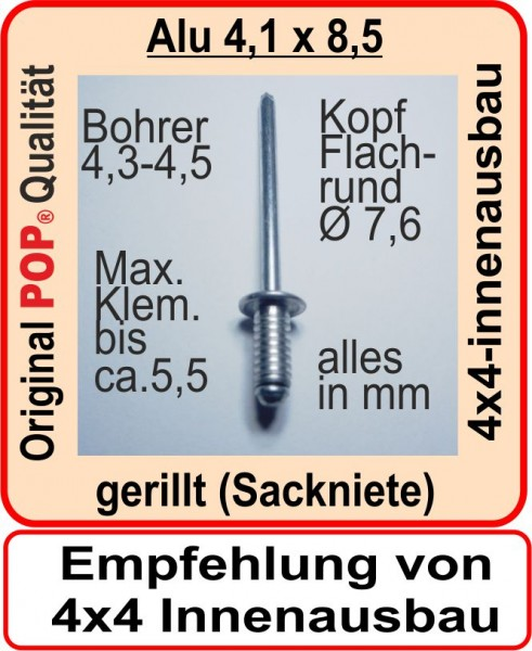 100 Blindnieten gerillt 4,1x8,5 mm