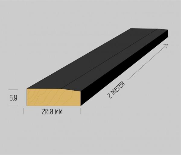 Spezial massiv Buchenholzleisten 6,9 x 20mm mattschwarz lackiert, 2 Meter