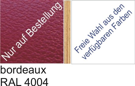 Großplatte 245 x 125 cm Farbe bordeaux RAL 4004 - (andere Seite nach Wahl)