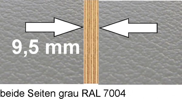 Ausbauplatte ca. 125 x 80 cm grau / grau, Sonderstärke 9,5 mm