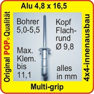 100 Blindnieten Multi-grip 4,8x16,5 mm