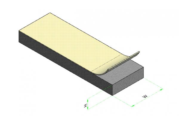 TapeTec Band, 50 mm Br., 4 mm Stärke, selbstklebend, 1 Meter, Bestellung als lfm