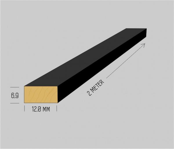 Spezial massiv Buchenholzleisten 6,9 x 12 mm mattschwarz lackiert, 2 Meter