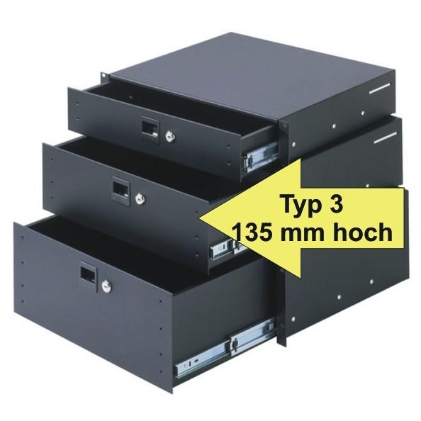 Adam Hall Rackschublade 87403A, Typ 3 135 mm hoch, HE Aluminium mit Schloß