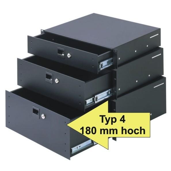 Adam Hall Rackschublade 87404A, Typ 4 180 mm hoch, HE Aluminium mit Schloß
