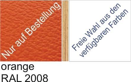 Großplatte 245 x 125 cm Farbe orange - (andere Seite nach Wahl)