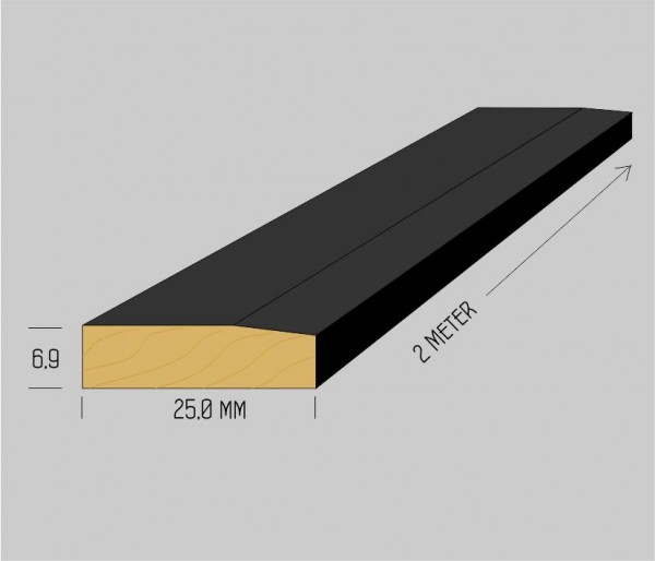 Standard massiv Buchenholzleisten 6,9 x 25mm mattschwarz lackiert, 2 Meter