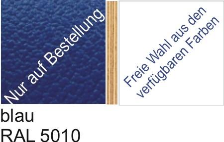 Großplatte 245 x 125 cm Farbe blau RAL 5010 - (andere Seite nach Wahl)